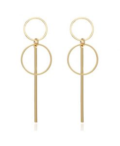 Long Earrings Round, Gold