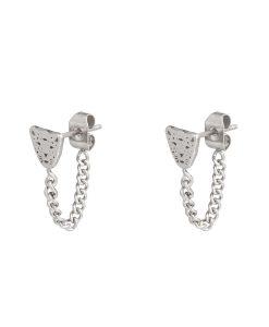chain oorbellen, luipaard, panter, zilver, stainless steel, roestvrij staal, sieraden, dames, accessoires, hippe