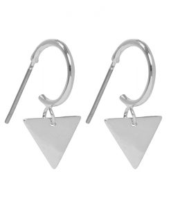 Creole Earrings Triangle, Silver