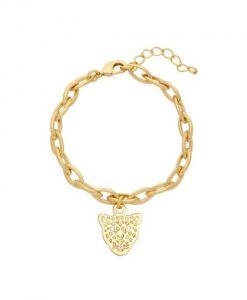 chain armband, schakelarmband, tijger, luipaard, panter, nikkel vrij