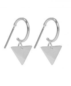 minimalistische oorbellen, oorringen, ringetjes, driehoek, gold plated, nikkelvrij, sieraden, dames, accessoires