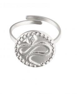 statement ring, verstelbare ring, slang, zilver, sieraden, stainless steel, rvs, roest vrij staal