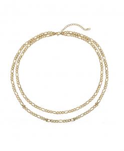 dubbele ketting, schakelketting, chain, dames, goud, zilver