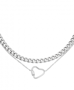 dubbele ketting, schakelketting, chain, stainless steel, roest vrij staal, rvs, dames, layer, hartje, zilver, goud, dames