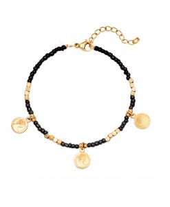 kralen armband, zwart, muntjes, goud, stainless steel, rvs, roestvrije staal, jewellery, sieraden, dames