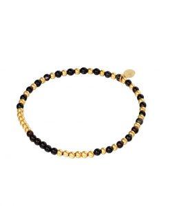 kralen armband, zwart, goud, sieraden, dames, accessoires, stainless steel, roestvrij staal