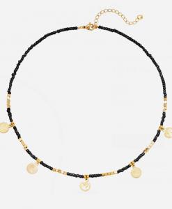 kralen ketting, sieraden, dames, jewellery, roestvrije stalen, rvs, stainless steel, muntjes, goud