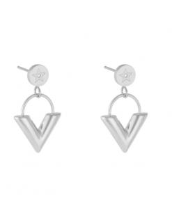 v oorbellen, stainless steel, roestvrije staal, zilver, sieraden, nikkelvrij, dames