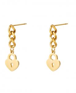 chain oorbellen, slotje, goud, zilver, roest vrij staal, stainless steel, rvs, dames, jewellery, sieraden, hartje