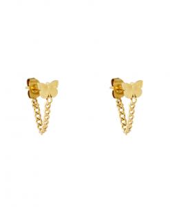 chain oorbellen, vlinder, stainless steel, rvs, roest vrij staal, sieraden, accessoires, dames
