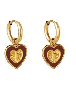oorringen, hartje, rood, goud, sieraden, accessoires, stainless steel, roest vrij staal, nikkel vrij