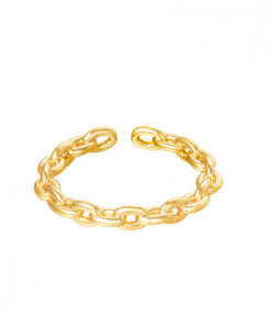 ring, gold plated, 18k, dames, sieraden, accessoires, chain, schakel