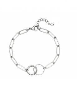 schakelarmband, cirkel, rondje, stainless steel, roest vrij staal, rvs, nikkel vrij, dames