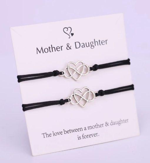 Moeder Dochter Armbanden Set, Hartje