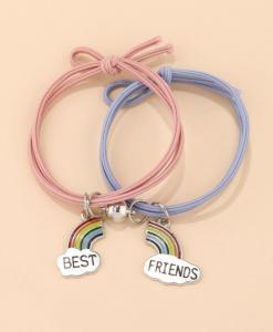 bff armbanden set, vriendschap, regenboog, sieraden, accessoires, touw, roze, blauw, hanger, bedel