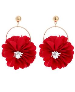 bloemen oorbellen, rood, statement, groot, sieraden, dames, accessoires, zomer