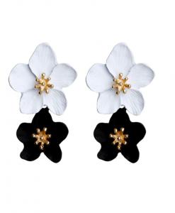 Bloemen Oorbellen Zwart Wit