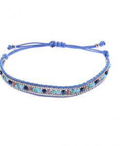 boho armband, kralen, bohemien, sieraden, dames, accessoires, blauw