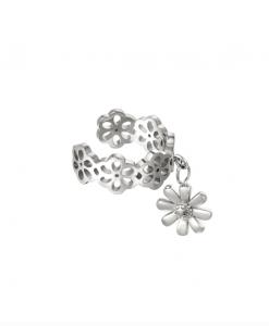 ear cuff, bloemen, stainless steel, roestvrij staal, sieraden, dames, accessoires, bedel, hanger, stainless steel