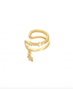 ear cuff, gold plated, ster, sieraden, dames, accessoires, oorbellen