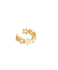 eaar cuff, sterren, gold plated, sieraden, dames, accessoires, goud