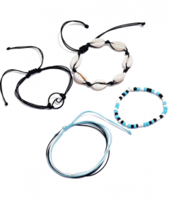enkelbandjes set, touw, zwart, blauw, kralen, ibiza, dames, accessoires