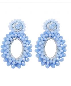 grote oorbellen, kralen, statement, sieraden, dames, accessoires, blauw