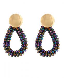 grote oorbellen, statement, kralen, dames, accessoires, sieraden, goud, kleurrijk