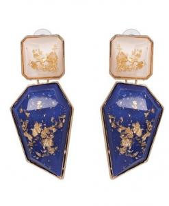 grote oorbellen, steen, blauw, statement, sieraden, dames , accessoires