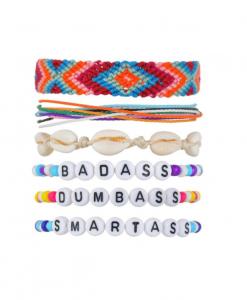 ibiza armbanden, set, dames, accessoires, zomer, kralen, schelpen, touw, stof armbandjes