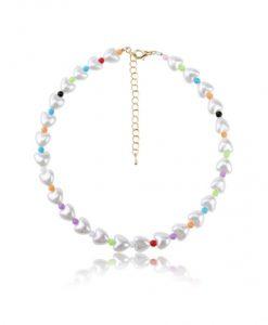kralen ketting, hartje, kleurrijk, parels, dames, accessoires, sieraden