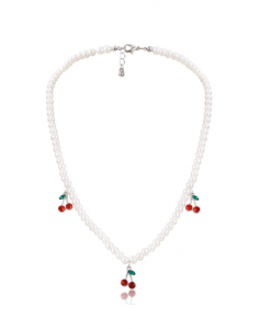 kralen ketting, kersen, wit, sieraden, dames, accessoires, rood, wit
