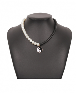 kralen ketting, yin yang, zwart, wit, sieraden, dames, accessoires
