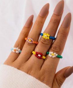 ringen set, kralen, sieraden, dames, bloemen, accessoires