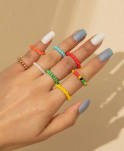 ringen set, kralen, sieraden, dames, accessoires, gekleurde ringen, trendy, hippe ringen
