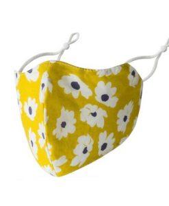 mondkapje, mondmasker, met print, bloemen, geel, herbruikbaar, wasbaar