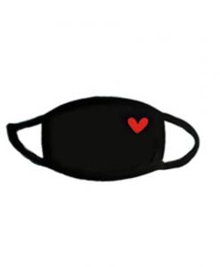 mondkapje, mondmasker, print, hartje, accessoires, zwart, wasbaar, herbruikbaar