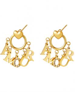 oorhangers, oorbellen, sieraden, dames, accessoires, amour, goud, zilver, sieraden, dames, stainless steel, nikkelvrij, roestvrij staal