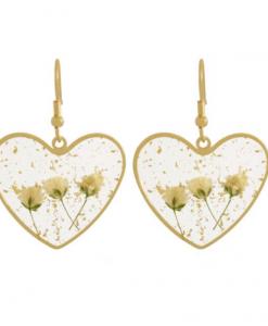 oorhangers, bloemen, goud, oorbellen, sieraden, dames, accessoires