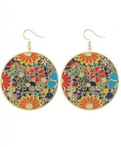 oorhangers, oorbellen, rond, bloemen, sieraden, dames, accessoires, zomer