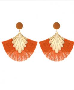 oranje oorbellen, groot, dames, accessoires, sieraden