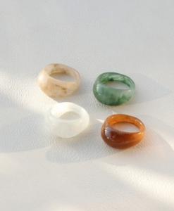 ringen set, 4 stuks, dames, ringen, resin, hars, plastic, accessoires, hippe, trendy