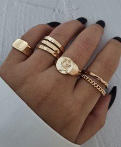 ringen set, draak, goud, zilver, sieraden, dames, accessoires