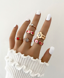 ringen set, goud, sieraden, dames, accessoires, rood, roze, bloem, stargaze