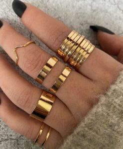 ringen set, goud, sieraden, dames, accessoires
