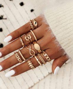 ringen set, knoop, sieraden, dames, accessoires, trendy, hippe