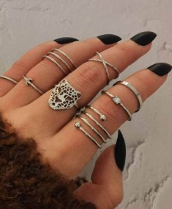 ringen set, zilver, luipaard, panter, leuk, trendy, sieraden