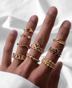 ringen set, sieraden, dames, accessoires, goud