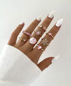ringen set, roze, sieraden, dames, accessoires, goud, hip, mooi, stargaze, yin yang, zirkonia