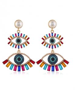 statement oorbellen, groot, lang, oog, diamanten, zirkonia, kristallen
